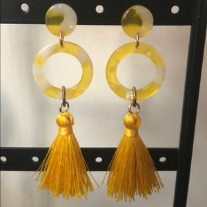 Yellow and white earrings